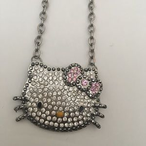 Hello Kitty Silver Rhinestone/Crystal Necklace